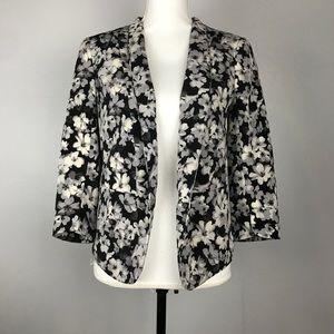 Lauren Conrad Black and White Floral Blazer